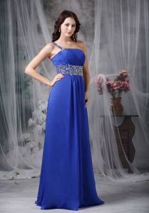 Chiffon Royal Blue One Shoulder Pageant Dress in Beading from Largo