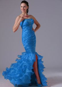 Mermaid Sheath Ruffles Pageant Dress with Ruching and Beading in Vista