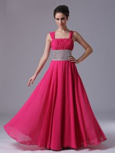 Beaded Waist Hot Pink Straps Ruched Pageant Dress in Lace-up in Storrs
