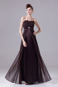 Beaded Strapless Floor-length Brown Pageant Dress in Chiffon in Dover