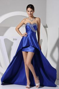 New York Blue Beading Sweetheart High-low Pageant Girl Dresses