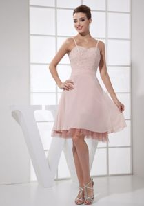 South Dakota Light Pink Beading knee-length Pageant Dresses with Straps