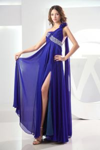 Watteau High Slit Beading Royal One Shoulder Washington Pageant Dress