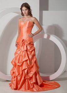 Orange Sweetheart Pick Ups Brush Train for Oregon Pageant Dress