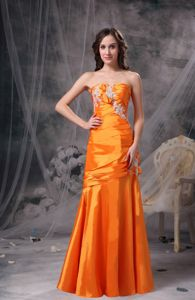 Florida Taffeta Appliques and Ruche for Orange Sweetheart Pageant Dress