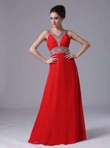Beaded Chiffon Red Pageant Dresses For Girls with V-neck in California