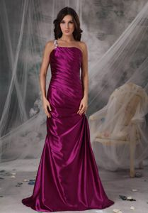 Alaska Appliques One Shoulder Fuchsia Glitz Pageant Dresses in Taffeta