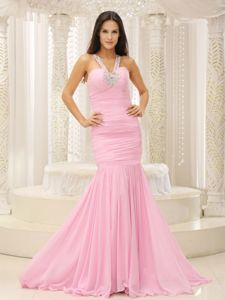 Mermaid V-neck Beaded Decorate Shoulder Ruched Pageant Dresses in Bodice in Utica