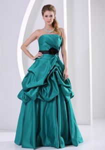 Pick-ups Turquoise A-line Handle Flower Girl Pageant Dress with Belt and Ruches in Tulsa
