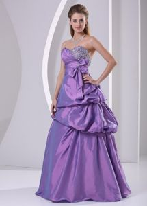 Sweetheart Beaded Pick-ups and Bowknot Purple Pageant Dresses in A-line from Albany