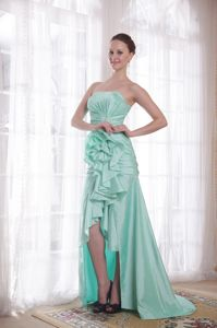 High-low Taffeta Apple Green Strapless Pageant Dresses with Hand Made Flower in York