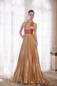 Halter Brush Train Elastic Woven Satin Gold Pageant Dress Patterns in Empire in Ogden
