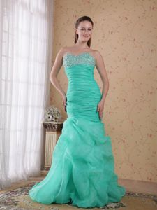 Turquoise Sweetheart Brush Train Pageant Dresses in Beading and Ruches from Denton
