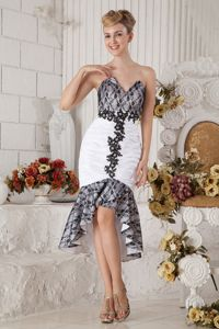 Black and White Mermaid Sweetheart Taffeta Pageant Girl Dresses in Beading in Franklin