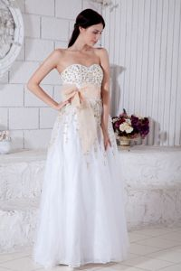 White Sweetheart Inexpensive Natural Beauty Pageants Dress with Gold Detail from Irvine