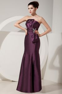 Dark Purple Trumpet Strapless Beaded Celebrity Pageant Dresses in Floor-length in Aptos