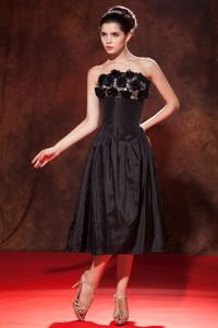 Strapless Tea-length Taffeta Interview Pageant Suits with Handle Flowers in Fargo