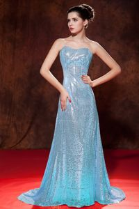 Luxurious Aqua Blue Sweetheart Sequin Girl Pageant Dress in Brush Train in Troy