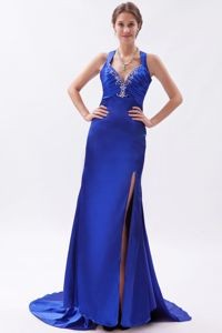 Brush Royal Blue Straps Embroidered Girl Pageant Dress with Beading from Bismarck