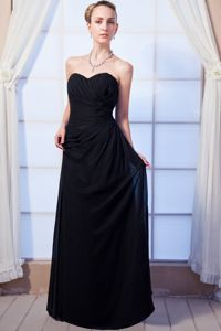 Ruched Black Empire Sweetheart Floor-length Girl Pageant Dress in Chiffon from Butler