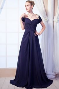 Navy Blue Sweetheart Chiffon Dresses For Pageants In Njin Beading from Bismarck