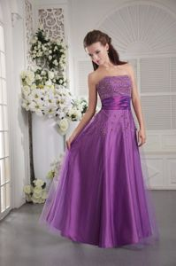 Strapless Floor-length Eggplant Purple Girl Pageant Dress in Tulle and Taffeta in Troy