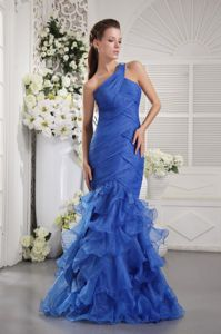 Mermaid One Shoulder Dresses For Pageants In Nj with Ruches and Ruffles from Reno