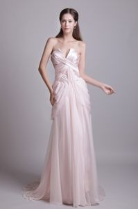Empire Strapless Brush Train Pink Chiffon Dresses For Pageants In Nj with Pleats in Troy