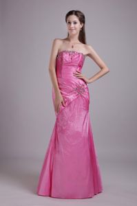 Rose Pink Strapless Floor-length Taffeta Girl Pageant Dress in Rhinestone from Cary