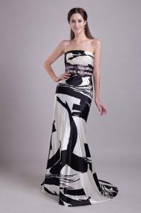 Beautiful Strapless Brush Train Girl Pageant Dress in Printing and Beading from Reno