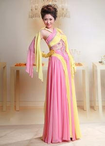 Baby Pink and Yellow Chiffon Miss Mississippi Pageant Dress in Cross Neck from Osceola
