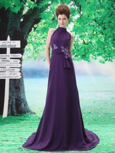 Purple High-neck In Salem Homecoming Dress with Sash and Hand Made Flowers in Slidell