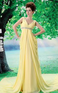 V-neck Yellow 2013 Natural Beauty Pageants Dress with Beading and Ruches in Slidell
