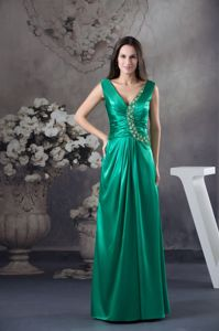 Teal V-neck Ruched and Beaded Taffeta Pageant Dresses for Miss America