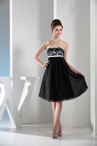 Strapless Black and White Knee-length Chiffon Pageant Dresses for Girls
