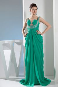 Beautiful Sweep Train Green Ruched and Beaded Pageant Dress in Chicago