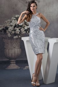 Silver Sequin Mini-length Dresses for Pageants with Sequins in Norway