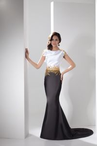 White and Black Natural Beauty Pageants Dress with Beading in Freehold