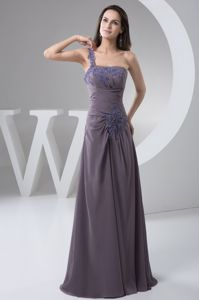 Concord One Shoulder Empire Ruched Pageant Girl Dresses with Appliques
