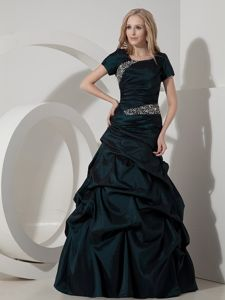Elegant Teal A-line Scoop Taffeta Beaded Miss Universe Pageant Dresses