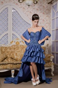 Blue Princess Sweetheart High-low Taffeta Pageant Dresses for Miss USA