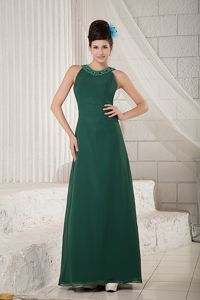 Elegant Dark Green Scoop Beaded Chiffon Pageant Girl Dresses in Chicago