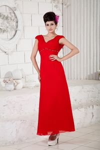 Red Column V-neck Ankle-length Chiffon Beaded Pageant Dresses in Addison