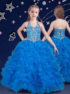 Best Halter Top Baby Blue Sleeveless Organza Zipper Glitz Pageant Dress for Quinceanera and Wedding Party