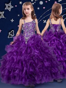 Ruffled Ball Gowns Pageant Dress for Teens Purple Asymmetric Organza Sleeveless Floor Length Lace Up