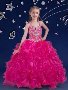Graceful Fuchsia Halter Top Lace Up Beading and Ruffles Glitz Pageant Dress Sleeveless