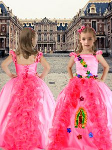 New Arrival Organza and Taffeta Cap Sleeves Floor Length Pageant Dress for Teens and Beading and Appliques and Ruffles