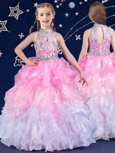 Fantastic Halter Top Organza Sleeveless Floor Length Pageant Dress Toddler and Beading and Ruffles