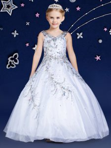 Perfect Ball Gowns Pageant Dress Toddler White Scoop Organza Sleeveless Floor Length Zipper