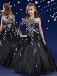 Black Pageant Dress Womens Quinceanera and Wedding Party with Beading and Ruffles Asymmetric Sleeveless Zipper